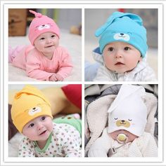 0cfff6c53f5 0 2 years Cotton Baby Hat Toddlers Boys Girls Caps Newborn Bear Sleep Hats  Spring Autumn Baby Cartoon Animal Cap HT05-in Hats   Caps from Mother   Kids  on ...