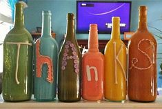 Thanksgiving Craft Ideas - I have so many old wine bottles that I can't throw away because I keep thinking I'll find something to do with them! Perfect!