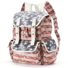 Mudd American Flag Cargo Backpack (Red) (46 NZD) ❤ liked on Polyvore