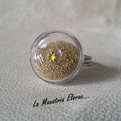 Bague artisanale globe en verre micro billes - Bague dôme en verre - Bague ajustable - Bague fantaisie