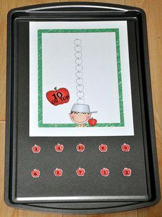 Apples: 10 on Top Cookie Sheet Activity : File Folder Games at File Folder Heaven - Printable, hands-on fun! Preschool Apple Theme, Fall Preschool, Preschool Themes, Preschool Math, Kindergarten, Early Learning Activities, Apple Activities, Preschool Activities, Book Activities