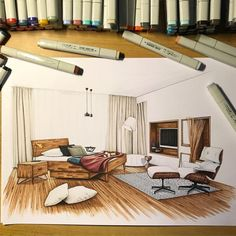 Love Drawing and Design? Finding A Career In Architecture - Drawing On Demand Interior Architecture Drawing, Interior Design Renderings, Drawing Interior, Interior Rendering, Interior Sketch, Interior And Exterior, Architecture Design, Classical Architecture, Portfolio Design
