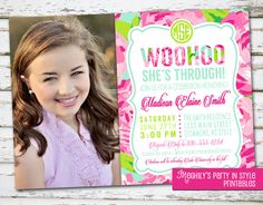 Lilly Inspired Graduation Invitation with photo by Meghilys