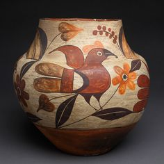 Exceptional Acoma 4-Color Water Jar with Birds. This and more important Native American pottery on the CuratorsEye.com