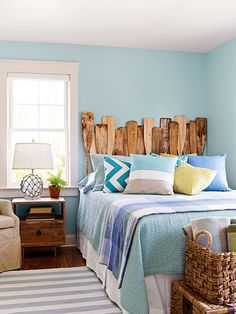 DIY a headboard from a mix of vintage and new oars