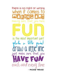 Craft Room/Art Space Wall Quote by Mickey Mouse - FREE Printable!