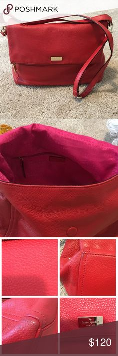 """Kate Spade Highland Place red satchel cross body Gently used, Kate Spade Highland Place red leather satchel with removable strap that can turn it into a cross body.  Has some very small spots on front and wear on corners. Hardly noticeable. Great size! Approx 13""""W x 11""""H x 5""""D. Gold tone hardware. Magnetic closure. Lots of room! Kate Sade dust bag  included. kate spade Bags Crossbody Bags"""