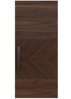 SLICED A custom door design with horizontal panels of rich select grade wood provide top and bottom framing to dual interior panels featuring our Lecate variegated texture. Rendering shown in walnut.