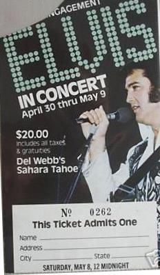 "May 8 1976   8pm and Midnight, Lake Tahoe NV. Sahara Hotel At 8pm Elvis wore the ""V-neck suit"" with original belt and at midnight he wore ""Blue Egyptian bird"" suit with original belt."