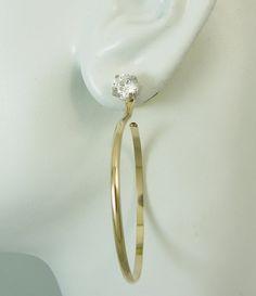 Earring Jackets Large Dangle Hoop 14K Gold Filled Earring Jackets for studs, Diamond Enhancer, Gold Hoop Ear Jacket for Gemstones, JHGF40M2D