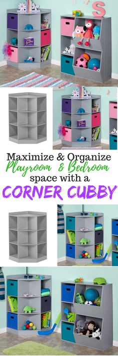 Maximize space and at the same time organize any room. Great idea for kids bedrooms and playrooms. #playroom #organization #kidsbedroom #kidsorganization #homedecor #homeorganization #storage #ad #pinning #smallspace