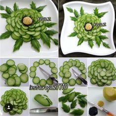 Cucumber Flower Source by Veggie Platters, Food Trays, Salad Design, Food Design, Fruit Decorations, Food Decoration, Cucumber Flower, Creative Food Art, Food Garnishes