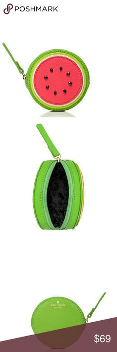 Kate Spade Make a Splash Watermelon Coin Purse This adorable little coin purse from Kate Spade will bring a smile to your face every time you reach into your handbag! Geranium pink with black seeds and green trim. This would make a whimsical addition to any woman's collection, or a perfect gift for a little girl. I am open to reasonable offers submitted via the offer button; however, I do not discuss pricing or negotiate through comments. No trades. kate spade Bags