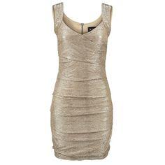Elegantes goldenes Kleid von Laura Scott. Das Kleid bringt die femininen Rundungen wunderbar zur Geltung. ♥ ab 60,99 €