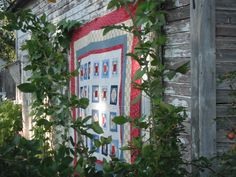'Reconstituted Swede' by Margaret Schwanke   (Quilt top hanging from an old shed. Climbing rose bush nestled in).