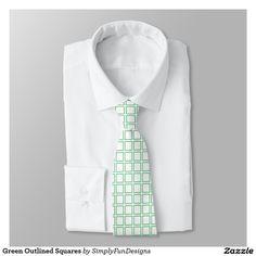 Green Outlined Squares Tie