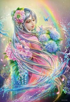 "NEW DIY Diamond Embroidered Acupuncture Cross Stitch ""Flower Fairy"" Diamond Art Wall Photo Christmas Decorative Gift Beautiful Fantasy Art, Beautiful Fairies, Beautiful Goddess, Crafts Beautiful, Rainbow Fairies, Rainbow Magic, Fairy Pictures, Fantasy Kunst, 5d Diamond Painting"