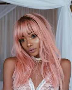 pastel pink hair with shadow roots Black Girl Pink Hair, Pink Lady, Wig Hairstyles, Pretty Hairstyles, Cabelo Rose Gold, Human Lace Front Wigs, Color Fantasia, Tumbrl Girls, Curly Hair Styles