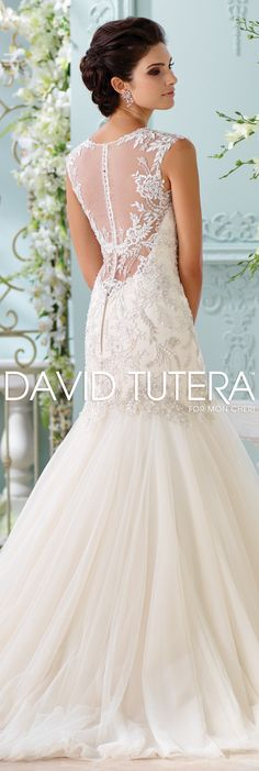 The David Tutera for Mon Cheri Spring 2016 Wedding Gown Collection - Style No. 116222 Ica #lacetrumpetweddingdress