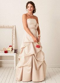 This strapless satin ball gown is perfect for a bold and dramatic look. With a pick up skirt adding extra flair and drama, this dress will make you stand out in style. The coordinating sash adds extra volume to the look. Sash matches dress color except Latte/Champagne. Fully lined. Back zip. Imported polyester. Dry clean only.  *SPECIAL VALUE! Was , Now !