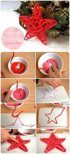 como hacer una estrella con hilo o lana roja
