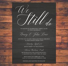 Still together vow renewal invitation vow renewal invitations vow renewal invitation we still do simple by brightpaper on etsy stopboris Images