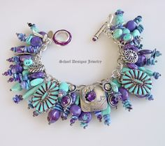Gorgeous purple turquoise & amethyst Native American charms bracelet by Schaef Designs Jewelry
