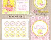 Pink Lemonade Birthday Invitation - Custom Printable. $10.00, via Etsy.