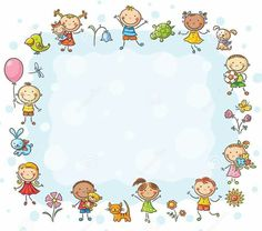 Buy Frame with Children and Flowers by katya_dav on GraphicRiver. Rectangular frame with kids and flowers, no gradients