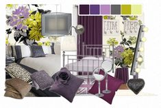 purple and green with some charcoal grey -inspiration for @Kjaersti McMurrick