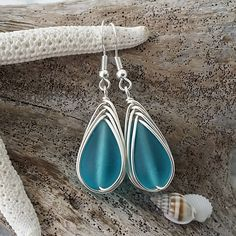 Made in Hawaii, Wire Turquoise Bay blue sea glass earrings, Sterling silver hook, gift for her, Beach sea glass jewelry by yinahawaii on Etsy