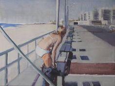 "Saatchi Art Artist lynn grayson; Painting, ""Winter surfer rockaway beach SOLD"" #art"