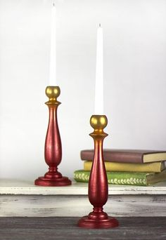 Create this project with Metallic Lustre® — Add elegance to a pair of flea market candlesticks with Metallic Lustre®. Candle Holders, Metallic Luster, Metal, Flaming Candle, Chalk Paint Recipe, Candlesticks, Viva Decor, Candles, Paint Drying
