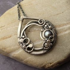 Wire Boutique: Seafoam - Sterling Silver & Feshwater Pearl Wire-Warpped Pendant Necklace - By Mgypsy