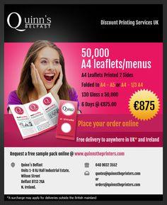 Now get 50,000 A4 leaflets folded to A4-A5 or A4 -1/3 A4 at £700 130G, on 6 day TAT