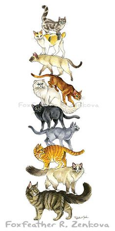 Cat Stack Painting Print  Wall art animal stack by foxfeather, $15.99