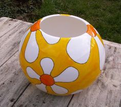 Orb Globe Vase Daisies Retro Flowers Hand Painted by scattyartist, $70.00