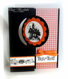 Stamps:  Best Of Halloween Paper:  Basic Black, Very Vanilla, Pumpkin Pie, DSP Witches Brew Ink:  Basic Black Accessories:  grosgrain ribbon Tools:  Big Shot, circle card thinlit die, scallop circle punch, circle punch, dimensionals