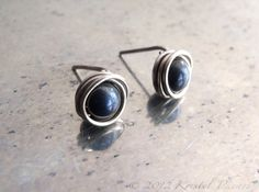 Tiny Iron Tiger Eye sterling stud earrings by Kris P Studio on Etsy #gifts under 15