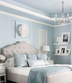 Sep 2019 - Beautiful traditional style light blue and grey luxury bedroom decor with grey curved headboard bed Baby Blue Bedrooms, Blue Teen Girl Bedroom, Blue Girls Rooms, Blue Master Bedroom, Blue Bedroom Walls, Room Ideas Bedroom, Master Suite, Girl Bedrooms, Diy Bedroom