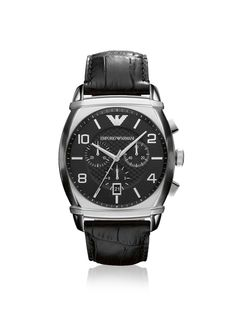 Emporio Armani Men s AR0347 Black Leather Watch Croc-embossed leather band  complements a stainless steel 495c4ea0e01