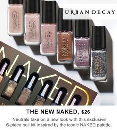 It's HERE. Inspired by the iconic Naked palette, Urban Decay introduces this 6-piece nail set available at Sephora.com 12/26. Pre-purchase available for Beauty Insiders now! #Nails #Nailspotting #Sephora