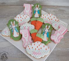 Peter Rabbit first birthday party cookies