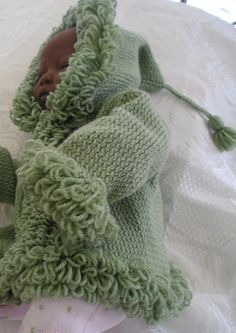 Sage green handknit baby hooded coat jacket sweater by JaminaRose, £20.00