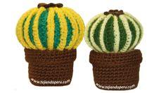 Tutorial: cactus redondo en dos colores tejido en la técnica del amigurumi (crochet)!!
