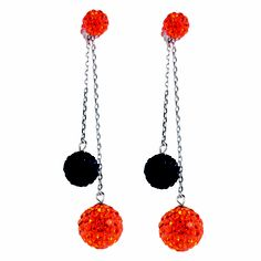 Sterling Silver Dangle Earrings with Orange and Black Crystal Beads #OkstateJewelry