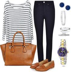 Andrea Moda y Asesoría: Blusa rayas blanca Pantalón azul oscuro FW15-16