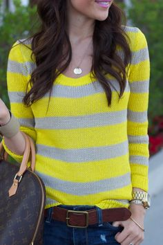 Yellow stripes & dark jeans.