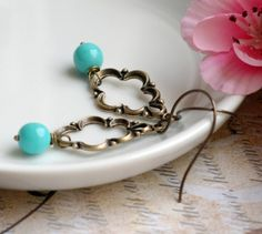 Brass Drop Turquoise Earrings by Sumikoshop on #etsy