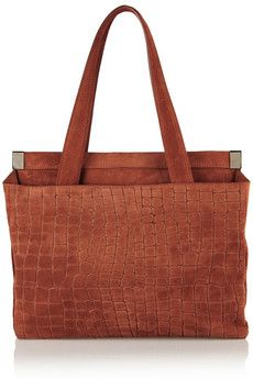 Maison Martin Margiela Croc-effect suede shoulder bag+|+THE OUTNET